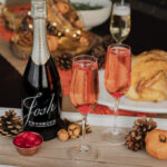 Sparkling Harvest is a bubbly fall cocktail that uses Maraschino Cherry Juice, amaretto, and Prosecco. If you're looking for a Thanksgiving cocktail, look no further! #ElleTalk #CocktailRecipe #Cocktail #Prosecco #Thanksgiving #FallRecipe