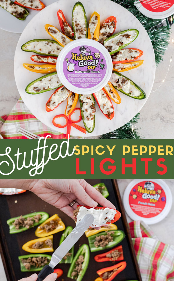Easy 4 ingredient holiday appetizer for spicy stuffed peppers filled with Italian hot sausage and Heluva Good French Onion Dip. Baked and then ready to serve with a side of Heluva Good Buttermilk Ranch Dip. #HeluvaGood #ad #ElleTalk #HolidayEntertaining #HolidayAppetizer #EasyAppetizer #HotSausage #StuffedPeppers #FrenchOnionDip