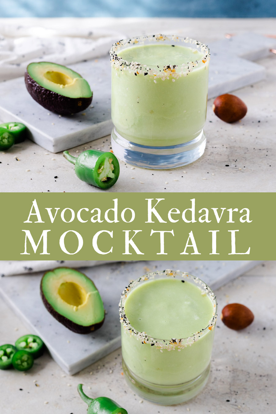 Avocado Kedavra is a no-alcohol cocktail with similar notes to sour cocktails with a hint of heat. It a perfect dry January cocktail that's velvety smooth but packed with a citrus and jalapeño punch. #ElleTalk #Mocktail #Cocktail #Avocado #NoABV